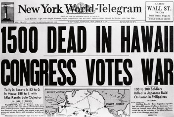 November 8, 1941, New York, New York, USA --- These headlines were from a New York newspaper telling of the start of the American-Japanese war, December 7, 1941. --- Image by © Bettmann/CORBIS